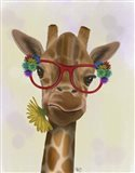 Giraffe and Flower Glasses 3 Art Print