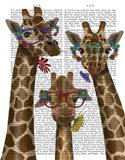 Giraffe and Flower Glasses, Trio Art Print