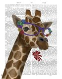 Giraffe and Flower Glasses 2 Art Print
