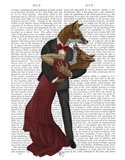 Foxes Romantic Dancers Art Print