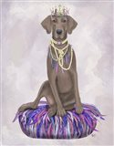 Weimaraner on Purple Cushion Art Print