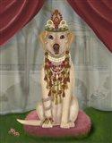 Yellow Labrador and Tiara, Full Art Print