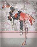 Flamingo and Pearls, Full Art Print