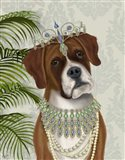 Boxer and Tiara, Portrait Art Print