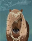 Horse Brown Pony with Bells, Portrait Art Print