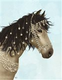 Horse Buckskin with Jewelled Bridle Art Print