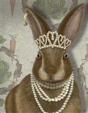 Rabbit and Pearls, Portrait Art Print