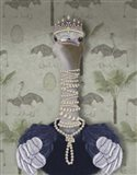 Ostrich and Pearls, Portrait Art Print