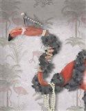 Flamingo and Pearls, Portrait Art Print