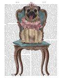 Pug Princess on Chair Art Print