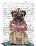 Pug Princess On Cushion Art Print