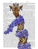 Giraffe with Purple Boa Art Print