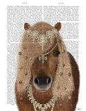 Horse Brown Pony with Bells, Portrait Art Print