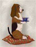 Basset Hound Taking Tea Art Print