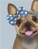 French Bulldog and Blue Bow Art Print
