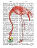 Flamingo and Cocktail 2 Art Print