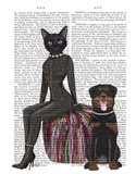 Black Cat and Rottweiler Book Print Art Print