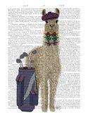 Llama Golfing Book Print Art Print