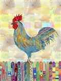 Rooster on a Fence II Art Print
