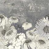 Flowers on Grey I Art Print