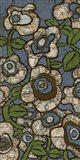 Blue Batik Flowers I Art Print