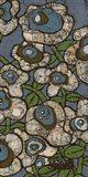 Blue Batik Flowers II Art Print