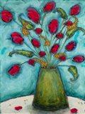 Flowers in Green Vase Art Print