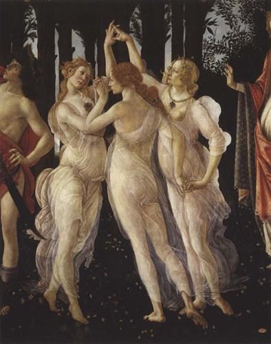 La Primavera (Spring) Detail of Three Graces Art Print by Botticelli