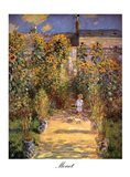The Artist's Garden at Vetheuil with Boy, c.1880 Art Print