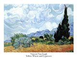 A Wheat Field with Cypresses, c.1889 Art Print