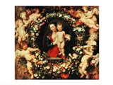 Virgin with a Garland of Flowers, c.1618-20 Art Print