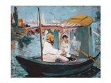 Monet in his Floating Studio, 1874 Art Print