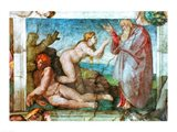 Sistine Chapel ceiling: Creation of eve, with four Ignudi, 1511 Art Print