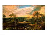 A Landscape with a Shepherd and his Flock Art Print