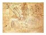 Facsimile of Codex  Atlanticus Screws and Water Wheels Art Print