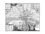 Plan de Paris - gray Art Print