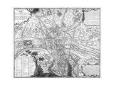 Plan de Paris - black and white Art Print