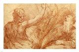 Studies of Saints John the Baptist and Jerome Art Print