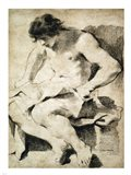 Study of a Seated Young Man Art Print