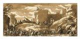 An Army Leaving a Castle Art Print