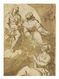 Saint Francis Interceding with the Virgin on Behalf of a Female Saint Art Print
