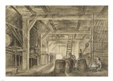 Interior of a Barn with a Family of Coopers Art Print