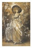 A Lady Walking in a Garden with a Child Art Print