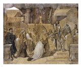 The Duke of Alba Receiving the Pope's Blessing in the Cathedral of St.Gudule Art Print
