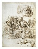 A Group of Shepherds, and Other Studies Art Print
