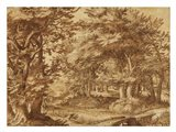 Forest Landscape with a Distant Castle Art Print