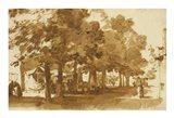 A Market Scene Under Trees in Katwijk Art Print