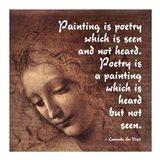 Painting is Poetry -Da Vinci Quote 2 Art Print