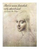 Art is Never Finished -Da Vinci Quote Art Print