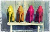 Vintage Fashion Colorful Heels Art Print